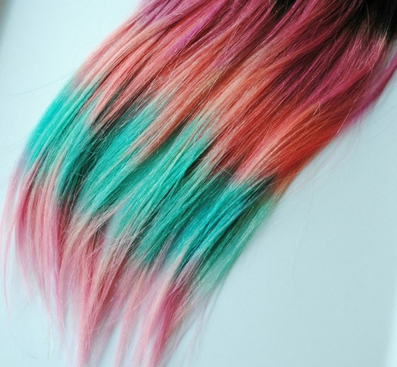 aztec tribal inspired human hair extensions dip dyed tips