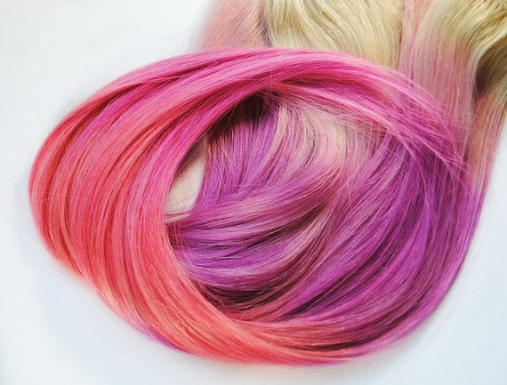 Candy Bubblegum Sugar - Human Hair Extensions - Dip Dyed Tips / Tie Dyed Clip Ins // Blonde Purple Peach Pink / Ombre Rainbow