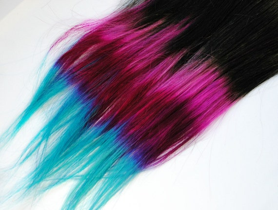 Shocker Neon Pop - Human Hair Extensions - Dip Dyed Tips / Tie Dyed Clip Ins // Black Pink Fuchsia Turquoise / Ombre Rainbow