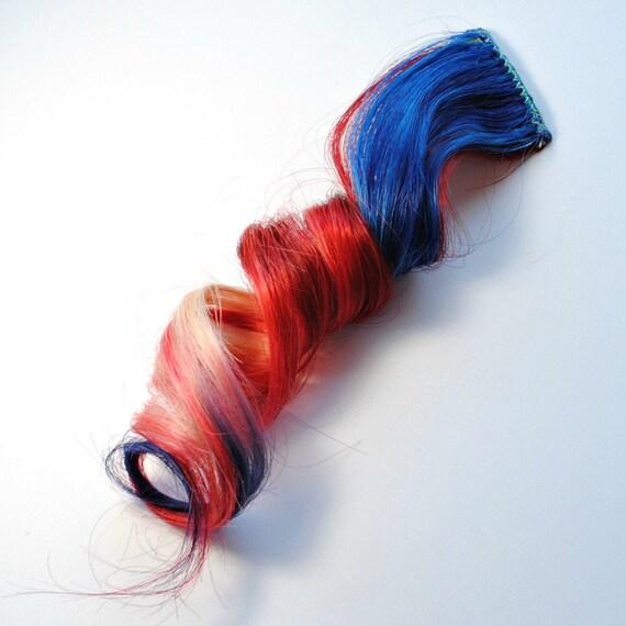 Patriotic - American Dream / Human Hair Extension / Red Blonde Blue / Long Tie Dye Colored Hair