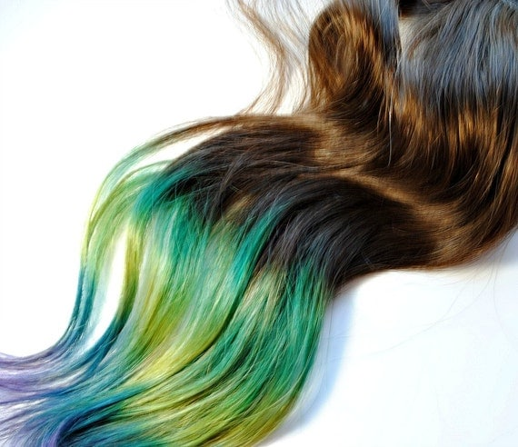 Peacock - Human Hair Extensions - Dip Dyed Tips / Tie Dyed Clip Ins // Brown Blue Green Purple Pink / Rainbow Ombre