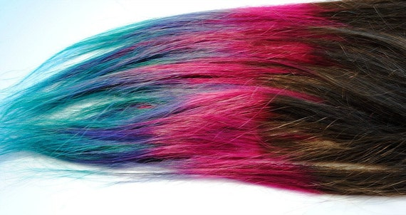 Ombre Rainbow - Human Hair Extensions - Dip Dyed Tips / Tie Dyed Clip Ins // Brown Pink Purple Turquoise Blue / Lauren Conrad Inspired