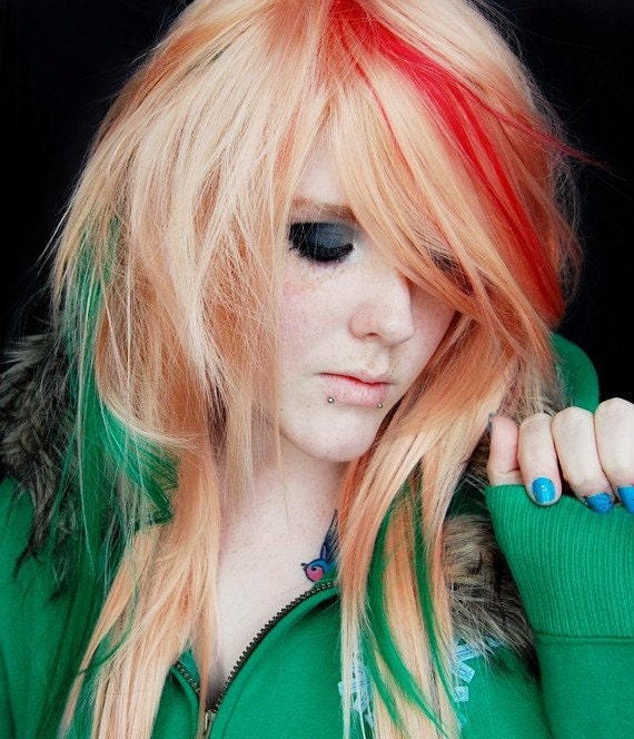 Caramel Covered Fruits / Human Hair Extension / Blonde Green Red / Long Tie Dye Colored Hair