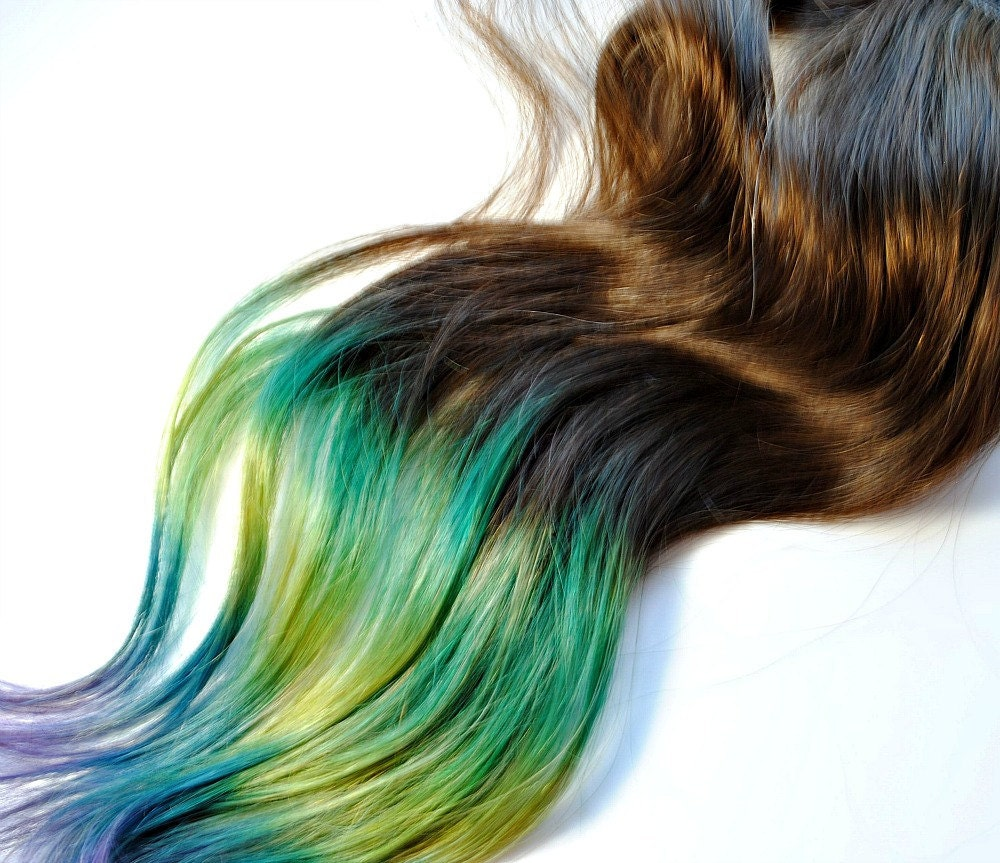 Peacock Human Hair Extensions Dip Dyed Tips / Tie Dyed