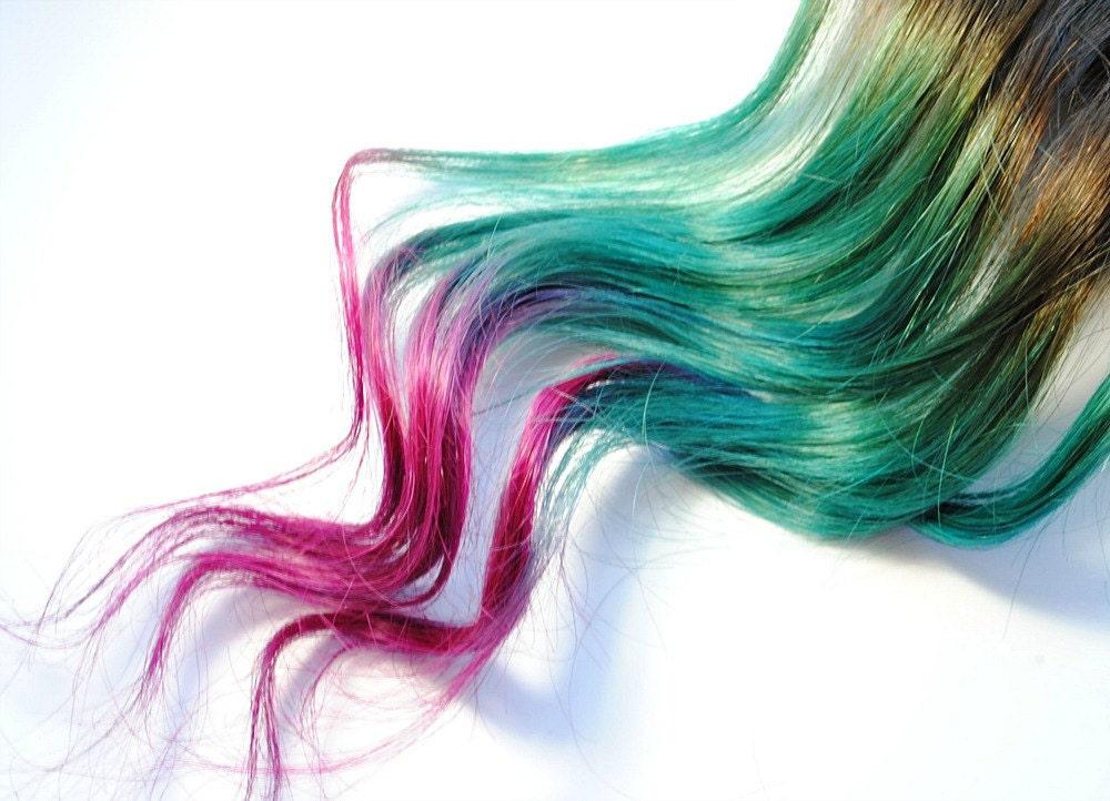 Mermaid Strands Human Hair Extensions Dip Dyed Tips Tie