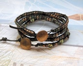 Green and Gold Duo- Stacking Leather Wrap Bracelet - Metallic Bronze Leather - Gold Button- Chan Luu Style