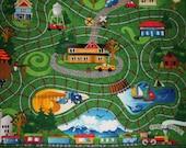 Train track playrug, blanket, quilt, MACHINE WASHABLE