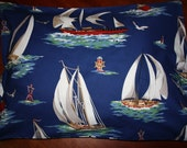 Sailing pillowcase, blue, junior or standard size available