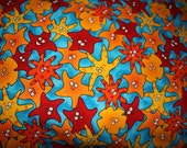 Starfish, seastar pillowcase, blue, orange, junior size