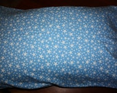 Blue with White Stars Flannelette Pillowcase, standard size