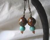 czech glass & turquoise dangles