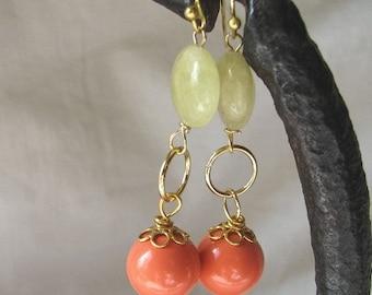 pearl and jade dangle earrings
