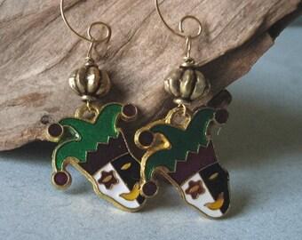 mardi gras jester earrings