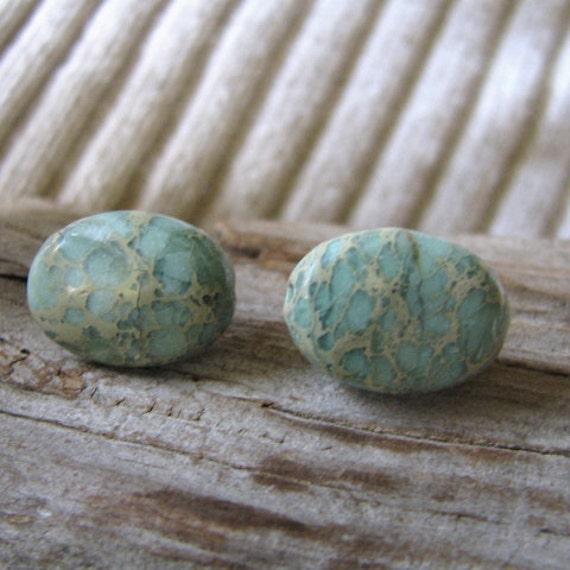 Impression jasper oval post earrings