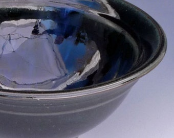 Black Pottery Large Serving Bowl