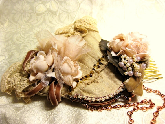 Victoria Lace Autumn Bronze Blossom Wedding Party Purse & Ivory Brown Floral Bridal Hair Comb Set- Romantic Shabby Chic Vintage Style