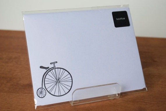 BLACK FRIDAY white writing paper: penny farthing bicycle