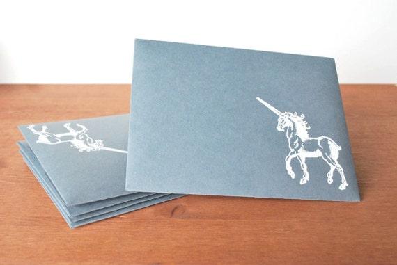 grey envelopes set of five: unicorn