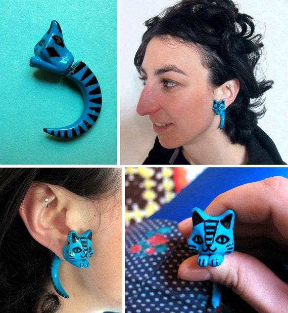 One Piece Custom Fake Cat plug Gauge Earring choose your color