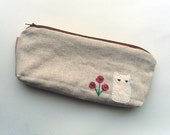 Linen  pencil case-cat and flower-gray