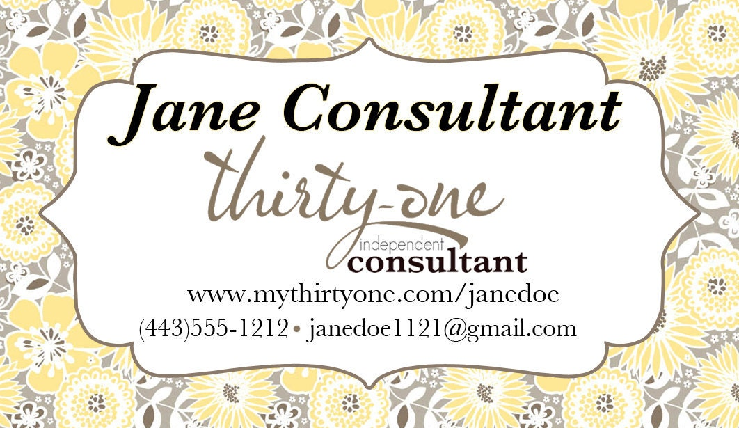 Thirty one business card design in awesome blossom for Thirty one business cards vistaprint