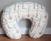 RESERVED FOR CANDICE Nursing Pillow Cover, Boppy Style, Organic Woodland Party by Monaluna and Blue Minky Dot, unisex