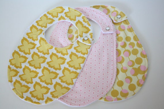 Baby Bibs, Set of 3 with Butterflies, Polka Dots and Modern Martini