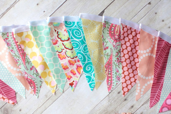 Bunting Flag, Spring Colors, Photo Prop, Wedding, Celebration Flag, LONG