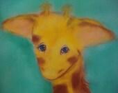 Original giraffe painting vintage