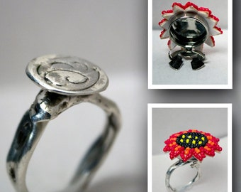 Interchangeable Button Cover Ring - Sterling Silver - Free Domestic Shipping to US