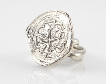 Sterling Silver Piece of Eight Ring - Free Domestic Shipping to US