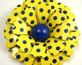 VINTAGE Flower Power Yellow with Blue Polka Dots Enamel Brooch