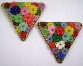 Vintage Art Deco Plastic Flowers Czech Plastic Flowers Dress Clips