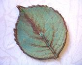 Old And Rustic Ceramic Leaf Spoon Rest