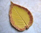 Golden Fire Ceramic Leaf Spoon Rest