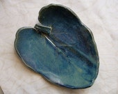 Caribbean Blue Ceramic Leaf Dish Or Bowl