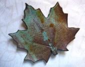 Muddy Teal Ceramic Maple Leaf Spoon Rest