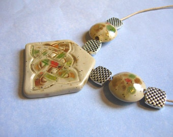 Sand Pebbles Celtic Ceramic Necklace
