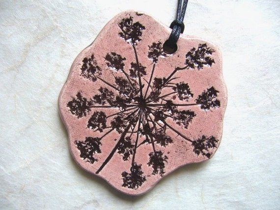 Dusty Rose Queen Anne's Lace Ceramic Pendant