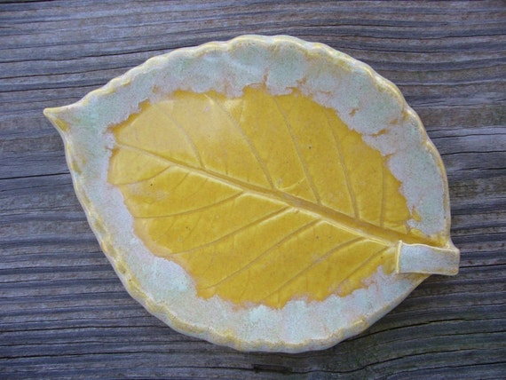 Yellow Buttercup Ceramic Leaf Spoon Rest