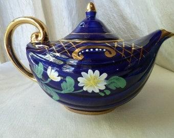 ArthurWood teapot 1950s Cobalt blue with gold paint accents