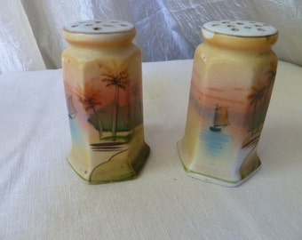 Early pre ww2 salt and pepper shakers with hand painted design