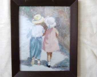 Ivan Anderson signed print pastel of two children whispering