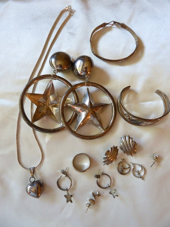 Vintage lot of mixed silver jewelry