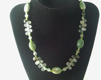 Spring and lime green necklace with matching earrings
