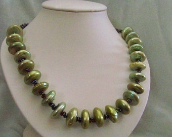 Olivey coin pearl necklace, earrings