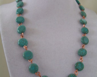 Turquoise & copper wire necklace, earrings