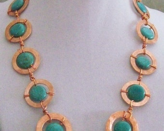 Turquoise w copper necklace, earrings