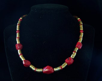Bright and bold red and brass necklace with earrings