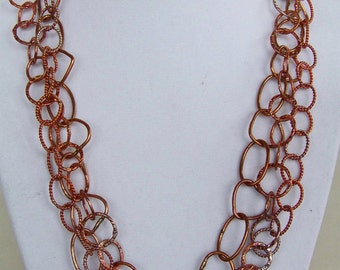 Fabulous large chain fire oxidized copper necklace w earrings